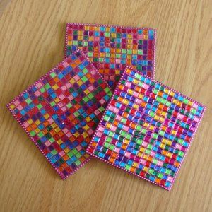 Pier 1 Pink Mosaic Coasters (Set of 3)   $3 Add-on